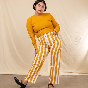 XL Big Bud Press Yellow/White Striped Work Pants